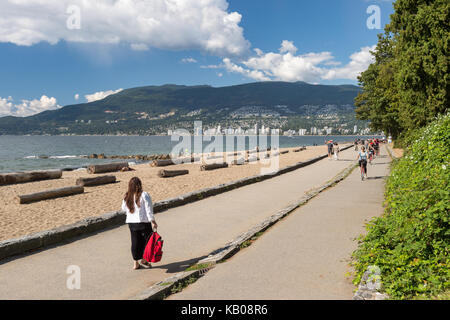 Vancouver, British Columbia, Canada - 13 September 2017: Vancouver third beach in Stanley Park - Stock Photo