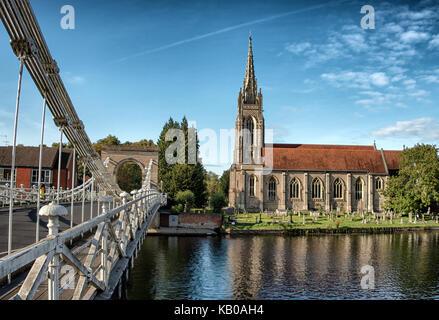 Suspension Bridge and All Saints Church at Marlow, Buckinghamshire, England - Stock Photo