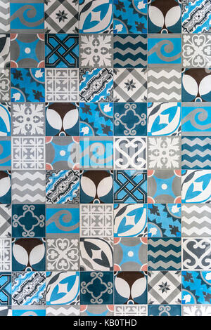 Blue, white and grey patterned tiles - Stock Photo