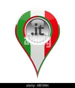 3D pin domain marker with Italian flag isolated - Stock Photo