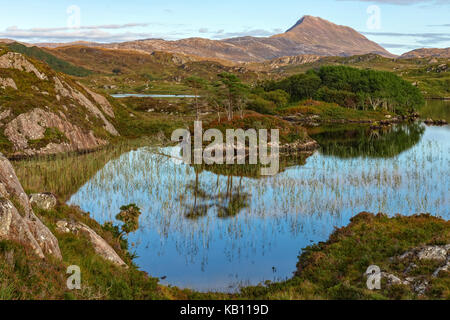 Loch Druim Suardalain, Assynt, Sutherland, Scotland, United Kingdom - Stock Photo