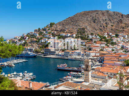 Hilltop view over the harbour in Hydra, Greece, Saronic Islands - Stock Photo