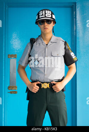 South korean soldier in the joint security area on the border between the two koreas, North Hwanghae Province, Panmunjom, - Stock Photo