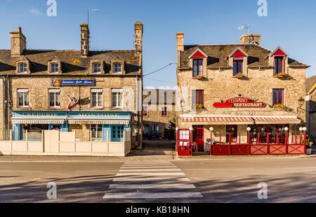 SAINTE MARIE DU MONT - APRIL 5: street and old Building on April 5, 2015 in Sainte Marie du Mont, Manche, Normandy, - Stock Photo