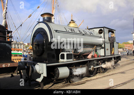 Avonside Engine Company Ltd 0-6-0 Steam Train No 34 Portbury of Bristol Harbour Railway providing passenger rides - Stock Photo