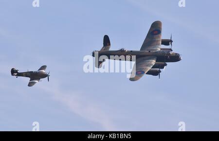 Avro Lancaster B1 and Hawker Hurricane Mk IIc of the Battle of Britain Memorial Flight - Stock Photo