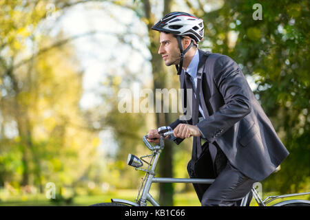 Businessman On Bike Hurry To Work Young Man Scared To Be