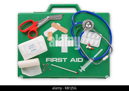 A First Aid kit isolated on white background with clipping path. - Stock Photo