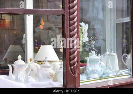 Germany, Saxony-Anhalt, Quedlinburg, in the market, boulevard cafe, nostalgically, - Stock Photo