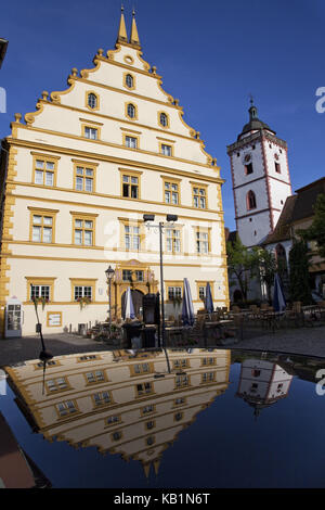 Being-domestic castle and church St. Nikolai in the Old Town from Market-broadly, Lower Franconia, Franconia, Bavaria, - Stock Photo