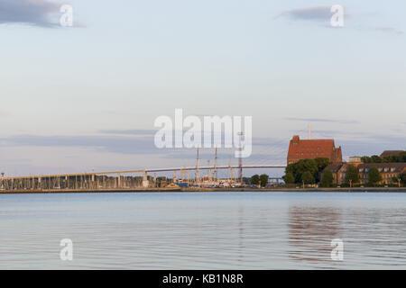 View over the Strelasund on the new and old Rügen bridge, Hanseatic town Stralsund, Mecklenburg-West Pomerania, - Stock Photo