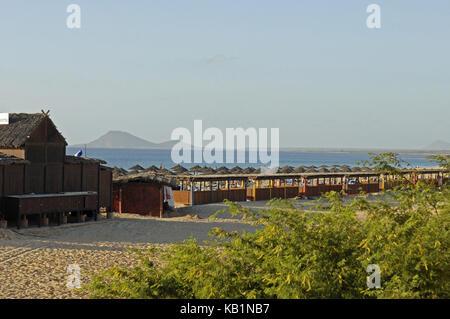 Beach in front of the hotel of Riu Funana, Santa Maria, island Sal, Cape Verde islands, - Stock Photo