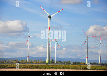 Germany, Saxony-Anhalt, resinous foothills, wind park, - Stock Photo