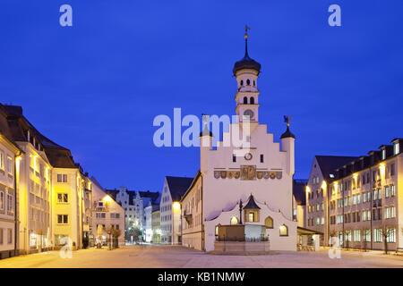 Kempten, city hall, city hall square, Allgäu, Bavaria, South Germany, Germany, - Stock Photo
