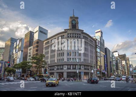 Department store Wako, Ginza District, Tokyo, - Stock Photo