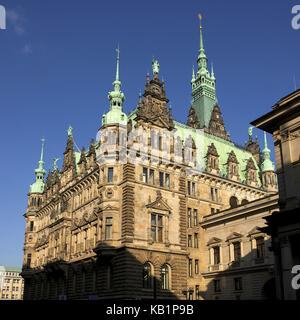 Germany, Hamburg, 'green capital of Europe in 2011', city hall, facade in the sunshine, - Stock Photo