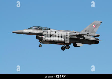 Military aviation. Polish Air Force F-16D jet fighter aircraft on approach - Stock Photo