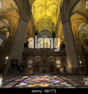 Spain, Andalusia, Seville, cathedral, nave, floor with mosaic tiles, - Stock Photo