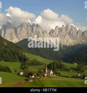 Italy, Trentino South Tirol, the Dolomites, Val di Funes, view at Santa Maddalena, - Stock Photo