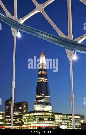 England, London, Tower Bridge and The Shard, in the evening, - Stock Photo