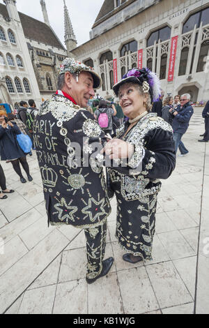 England, London, Pearlies, Pearly King and Pearly Queen, - Stock Photo