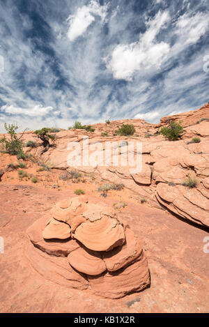 Sandstone region above the Escalante River in Southern Utah. - Stock Photo
