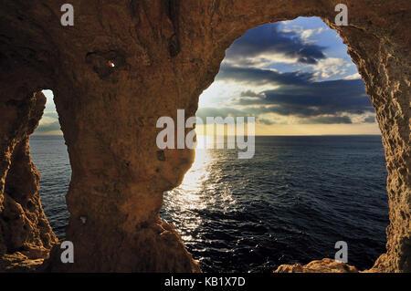 Portugal, Algarve, rock arcades of Algar Seco in Carvoeiro, - Stock Photo