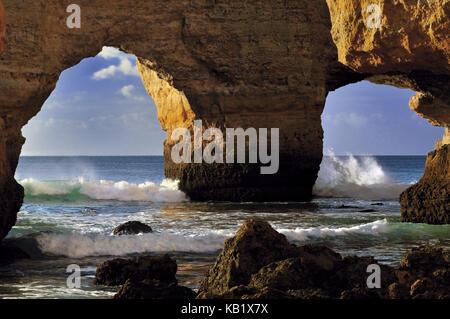 Portugal, Algarve, rock bow Praia da Marinha with Carvoeiro, - Stock Photo