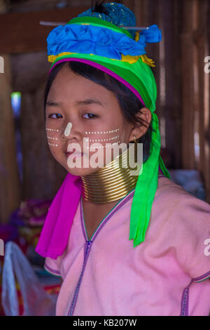 Portrait of Kayan tribe girl in Kayan state Myanmar - Stock Photo