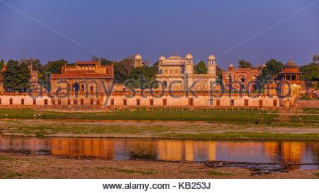 Tomb of Itimad ud Daulah, referred to as the Baby Taj Mahal, along the banks of the Yamuna River, Agra, Uttar Pradesh, - Stock Photo