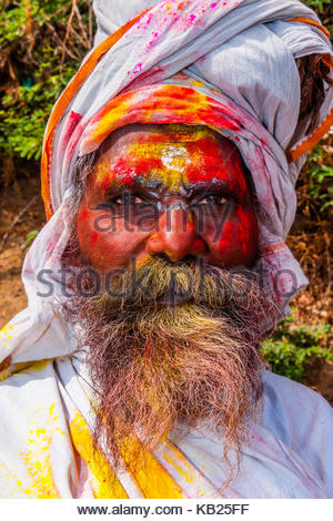 Lathmar Holi (Holi, Festival of Colors), Nandgaon, near Mathura, Uttar Pradesh, India. - Stock Photo