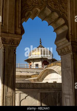 Framed view of Musamman Burj in Agra Fort Uttar Pradesh India. - Stock Photo