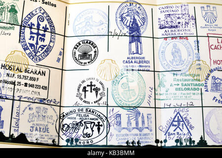 Spain, Way of St. James, stamped pilgrim's pass, - Stock Photo