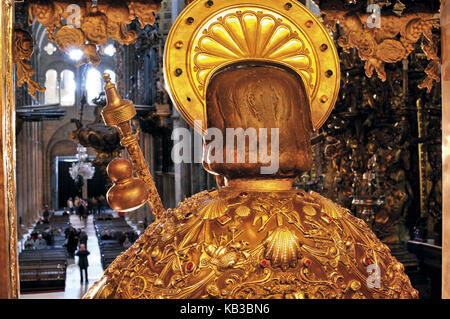 Spain, Galicia, seat statue of the apostle Jakobus in the cathedral of Santiago de Compostela, - Stock Photo