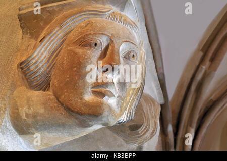 Spain, Kastilien-Leon, Romanesque capital in the world cultural heritage monastery of Santo Domingo de silos, - Stock Photo