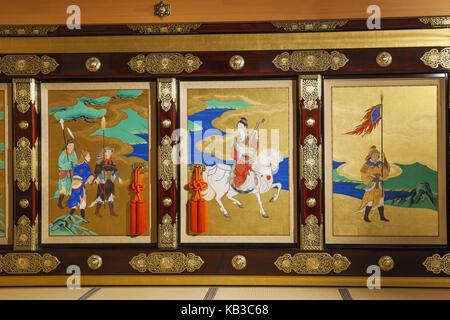 Japan, Kyushu, Kumamoto, castle Kumamoto, Honmaru-goten palace, inside, mural painting, - Stock Photo
