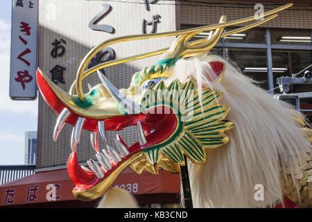 Japan, Honshu, Tokyo, Asakusa, Jidai Matsuri festival, dragon's figure, - Stock Photo