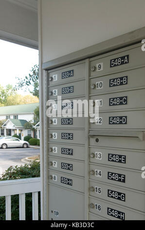 Apartment complex mailboxes, USA - Stock Photo