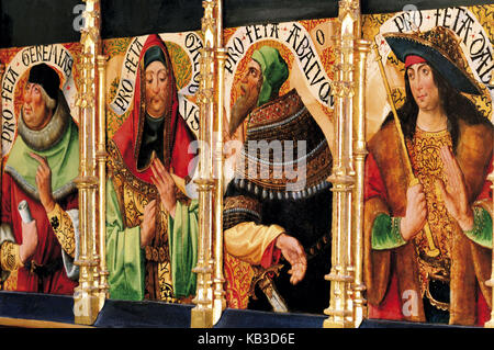 Spain, Way of St. James, detail of the Flemish-Spanish altar picture 'disaster' in the parish church Santa Maria - Stock Photo