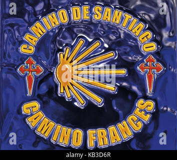 Spain, Way of St. James, tile picture with icons of the Camino de Santiago, - Stock Photo