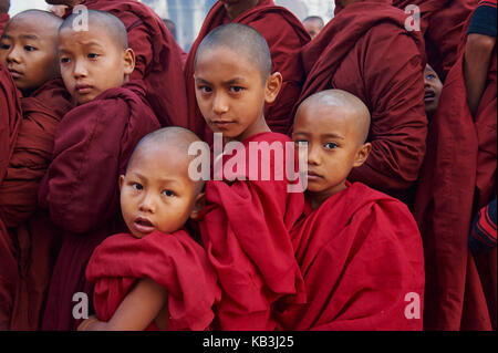Monks in the Full Moon festival, Bagan, Myanmar, Asia, - Stock Photo