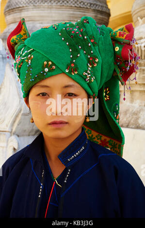 Young Pao woman, Myanmar, Asia, - Stock Photo