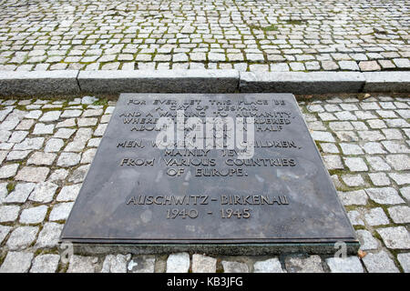 Memorial to the victims of Auschwitz II Birkenau Nazi concentration camp, Poland - Stock Photo