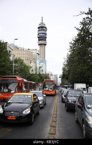Chile, Santiago, Avenida Libertador General Bernardo O'Higgins, - Stock Photo
