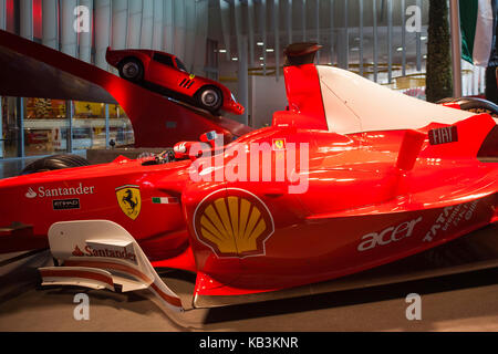 UAE, Abu Dhabi, Yas Island, Ferrari World Amusement Park, Ferrari Formula One racing car - Stock Photo