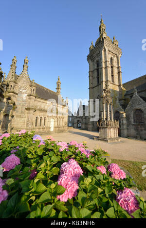 France, Finistere, stop on the Way of St James, St Thegonnec, parish enclosure - Stock Photo