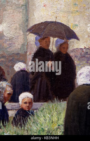 France, Finistere, Quimper, Fine Arts museum, Breton painting collection, After the mass, Brittany (Apres la messe, - Stock Photo