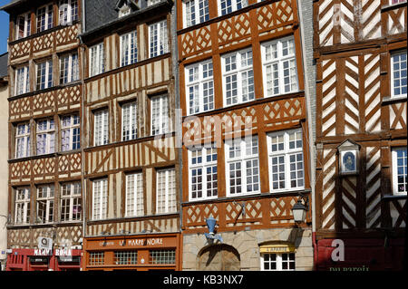 France, Ille et Vilaine, Rennes, Champ Jacquet square is bordered of half-timbered houses of the 17th century - Stock Photo
