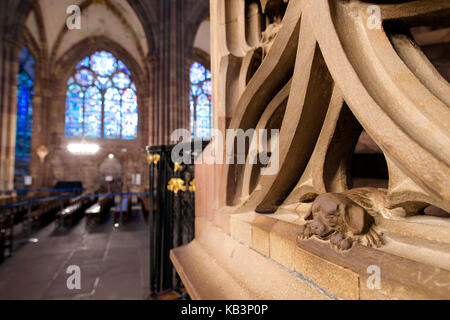 France, Bas Rhin, Strasbourg, old town listed as World Heritage by UNESCO, Notre Dame Cathedral, the pulpit, the - Stock Photo