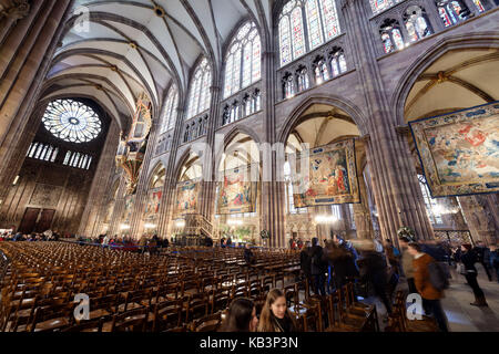 France, Bas Rhin, Strasbourg, old town listed as World Heritage by UNESCO, Notre Dame Cathedral, the Tapestries - Stock Photo